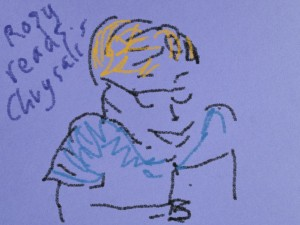 """Ann draws me reading """"Chysalis"""", a story by Geary's son Gabe."""