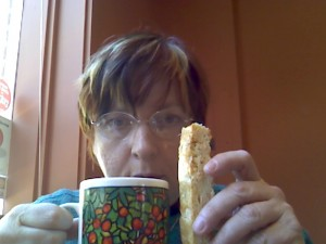 Upside: really great coffee and biscotti! Downside: really great coffee and high-calorie biscotti.  Upside: But the biscotti is really delicious!  Downside: so I ate three.